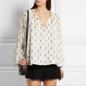 Iro bell sleeve metallic leaf print blouse